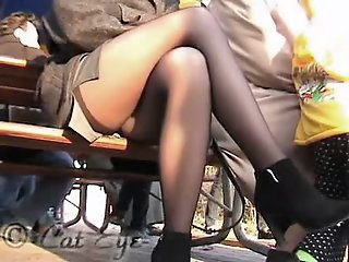 Public upskirt of the blonde..